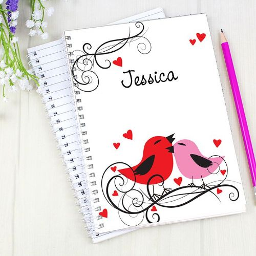 Personalised Love Birds A5 Notebook